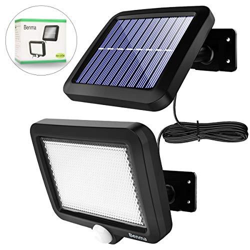 Solarlampen für Außen, 56 LED Solarleuchten mit Bewegungsmelder, IP65 Wasserdichte, 120° Beleuchtungswinkel Aussenleuchte mit 16.5ft Kabel [Energieklasse A+++]