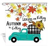 NYMB Duschvorhang, rustikaler Bauernhaus-Truck, mit schwarzen & weißen Karomustern, Kürbis Sonnenblume in Blättern, Herbst-Zitate & Blättern 69X70in Multi1