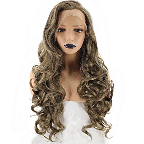 Perruque de Cheveux Longs bouclés Femmes Fantaisie Robe Perruque Bouffant Avant Dentelle Fibre Chimique Grands Cheveux Longs ondulés délié Naturel