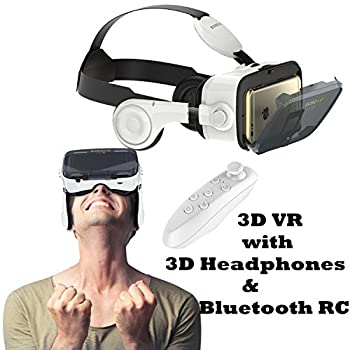 3D VR Headset Glasses Tsanglight Virtual Reality Headset with 3D Headphones & Remote Compatible for iOS iPhone XR XS X 8 7 6 6S Plus Android Samsung Galaxy S9 Edge/S9/S8 Edge/S8/S7 Edge/S7/S6/A5