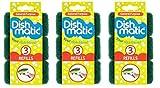 Esponjas Dishmatic de repuesto de color verde muy resistentes, 9 unidades