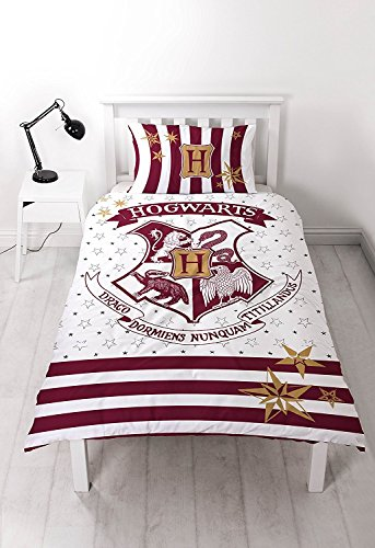Harry Potter 'Muggles' Single Duvet Set – Reversible Two Sided Hogwarts Large Print Design
