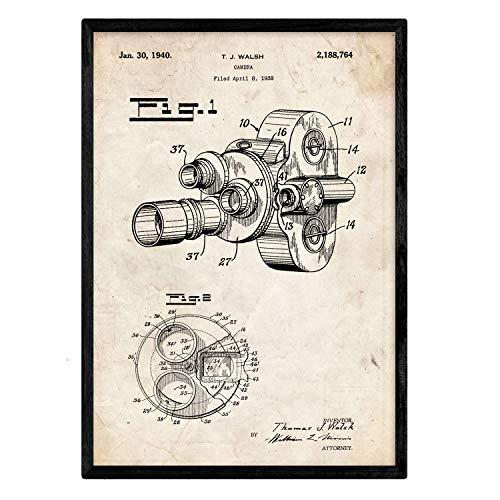Nacnic Poster con patente de Camara de fotos 8 milimetros. Lámina con diseño de patente antigua en tamaño A3 y con fondo vintage