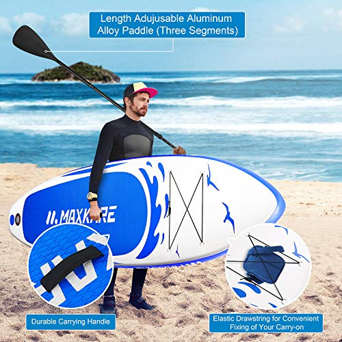 """Product Image 4: MaxKare Stand Up Paddle Board Inflatable SUP W Stand-up Paddle Board Accessories Backpack Paddle Leash Pump Non-Slip Deck ISUP Fishing Yoga Rigid Solid 10'× 30"""" ×6"""" Inches Thick Adult & Youth & Kid"""