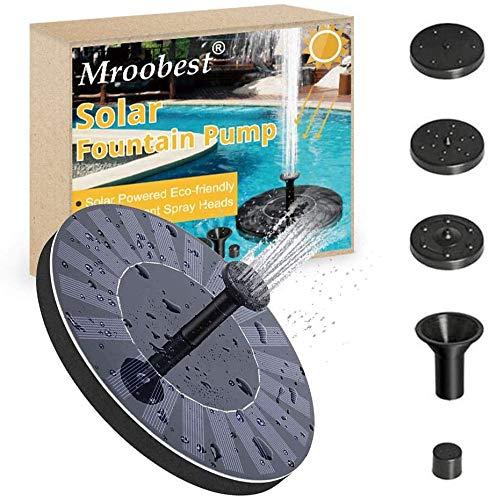 Mroobest Solar Springbrunnen, Solarbrunnen Schwimmend, Solarwasserbrunnen, Solar Springbrunnen durch Solarladetafel aufgeladen, Geeignet für Schwimmbäder und Gärten