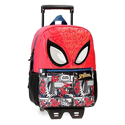 Marvel Spiderman Comic School Backpack with Red Trolley 25 x 32 x 12 cm Polyester 9.6L