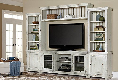 Complete Entertainment Unit in Distressed White Finish