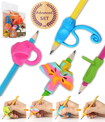 Firesara Advanced Pencil Grip Set, Original Ergonomic Handwriting AIDS Pencil Grips Writing Posture Corrector 4 Assorted Pencil Grips for Kids Children Adults Special Needs Rights
