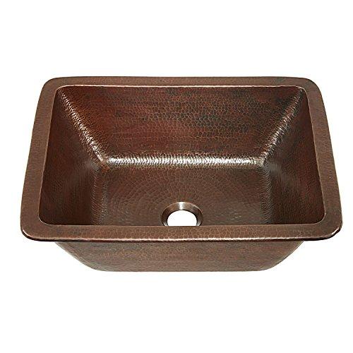 """Sinkology SB205-17AG Hawking Pure Solid Dual Mount Bath Sink Handmade, 17"""", Aged Copper"""