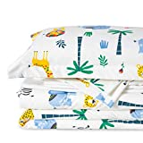 Bedsure Kids Twin Bedding Sets for Boys, 5 Pieces Bed in a Bag, Multi-Color Safari Zoo Animals Bedding, Easy Care Super Soft Microfiber Comforter and Sheets Set (Cream White,Twin)