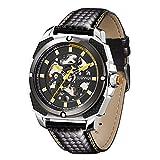 SURVAN WatchDesigner Racing Design Orologio automatico da uomo con scheletro meccanico, cinturino in vera pelle (giallo)