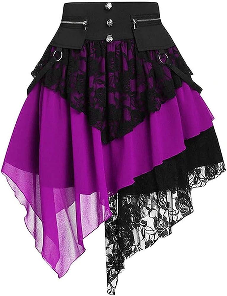 Skirts Women Retro Skirt Renaissance Lace Stitching Purple