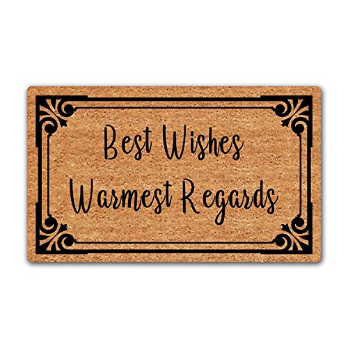 LuckyChu Doormat Best Wishes Warmest Regards Funny Floor Mat Door Mat Rug Non-Slip Entrance Indoor/Outdoor/Front Door/Bathroom/Kitchen/Home Mats Rubber 30 by 18 inch