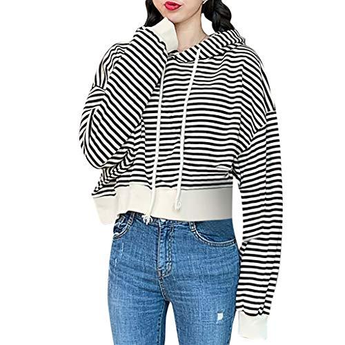 Frauen Art und Weise Hoodies beiläufige Streifen Langarm Top Sweatshirt, Damen koreanische Mode lose dünne gestreifte Kapuzenpullover mit Langen Ärmeln