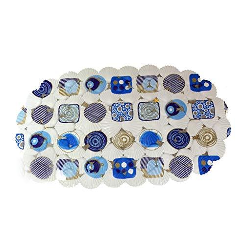 LIMING-douchematten Shell Shower Mat, douchebak Inlay Stone Design antislip zuignappen Shell 37 x 69 cm