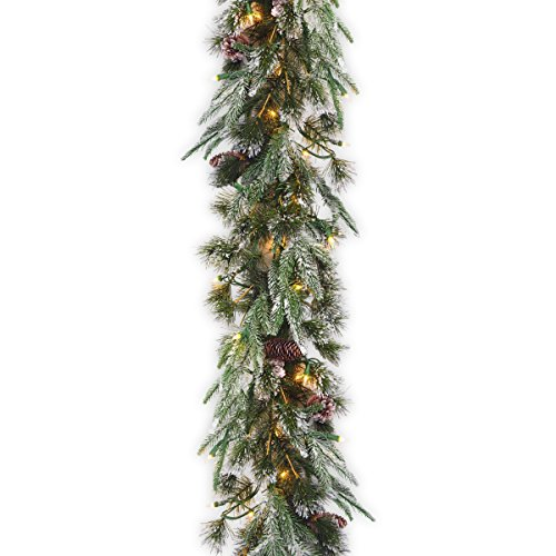National Tree Company 'Feel Real' Pre-lit Artificial Christmas Garland | Flocked with Mixed Decorations and Lights | Liberty Pine - 9 ft