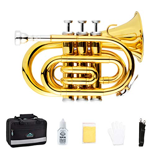 EastRock Pocket Trumpet Brass Bb Gold Lacquer Mini Trumpet with 7 C Mouthpiece, Hard...