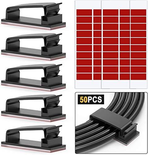 Chesbung Kabel-Clips, 3M Kleber, Ethernet-Kabel-Organizer, selbstklebende Draht-Management-Klemmen, Desktop-Kabel-Halter, Ladekabel-Organizer, Management-System für TV, 50 Stück (Schwarz)