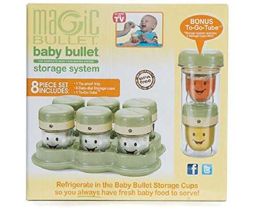 Magic Bullet BBSK-0801 Baby Bullet - Storage Kit (with To Go Tube & Lid), 8.3 x 3.9 x 8.1 inches, Green
