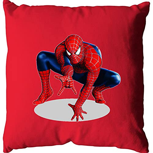 Housse DE Coussin Rouge Suedine Sublimation Coton , Spiderman 1 , Made in France, Marque O S I R I S