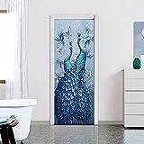 Pegatinas de Puerta en 3D 90x200cm DIY Autoadhesivo Puertas Mural Etiqueta Papel Tapiz para el Dormitorio Sala de Baño Cocina Calcomanía de la Puerta Pared - Pavo Real Azul