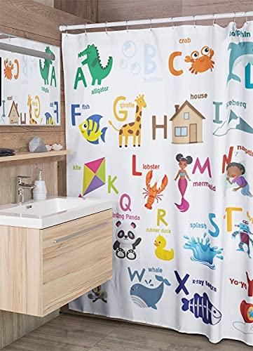 D Darlyng und Co Sea Adventure Duschvorhang   Aufhellung Kinderbadezimmer   wasserdicht & maschinenwaschbar   reines Polyester Material   für Babys & Kleinkinder (ABC Duschvorhang_FBA)