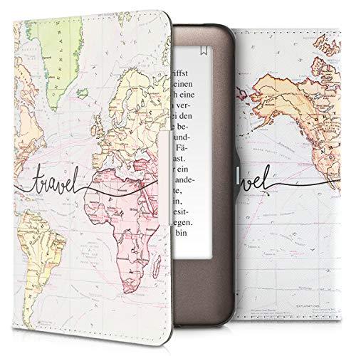 kwmobile Hülle kompatibel mit Tolino Shine - Kunstleder eReader Schutzhülle Cover Case - Travel Schriftzug Schwarz Mehrfarbig