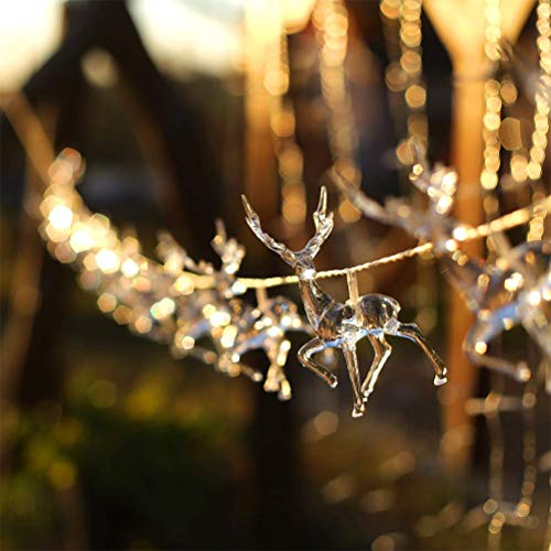 Insuwun Christmas Lights - LED Reindeer Battery Operated Christmas String Fairy String Lights for Halloween Christmas Holiday Party Home Patio Outdoor Decoration
