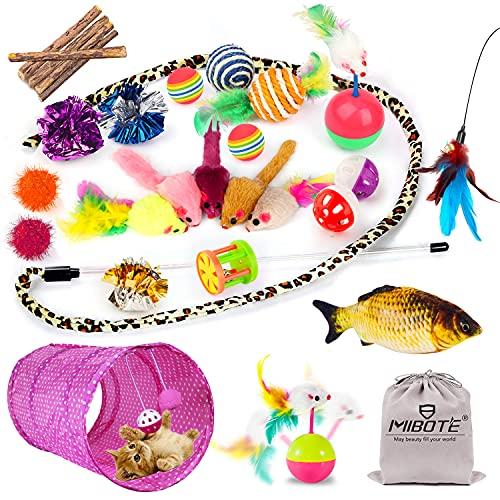 MIBOTE 28 Stück Katzen Spielzeug Katzenspielzeug Set mit Katzentunnel Jingle Bell, Katzenminze, Fisch, Spielzeugmäuse, Katzentunnel Spielzeug Variety Interaktive Spielzeug Pack für Kitty