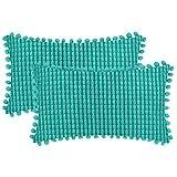 DEZENE Turquesa Fundas de Almohada Decorativas con Pompones - 30x50cm Paquete de 2 Fundas Rectangular de Cojín de Granos de...
