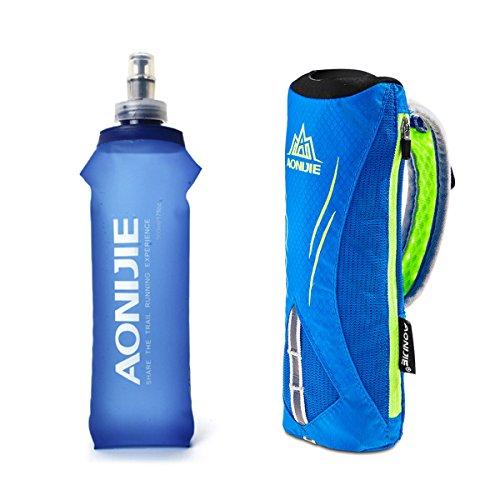 Geila Handheld Water Bottle for Running, 17 oz Grip Handheld Bottle with Hand Strap Hydration Pack, Sport Soft Flask (Blue)