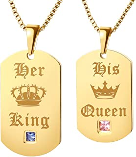 699ec232ce GAGAFEEL Couple Necklace His Hers Titanium Gold Color Tag Pendant Matching  Set Xmas Valentines Love Gift