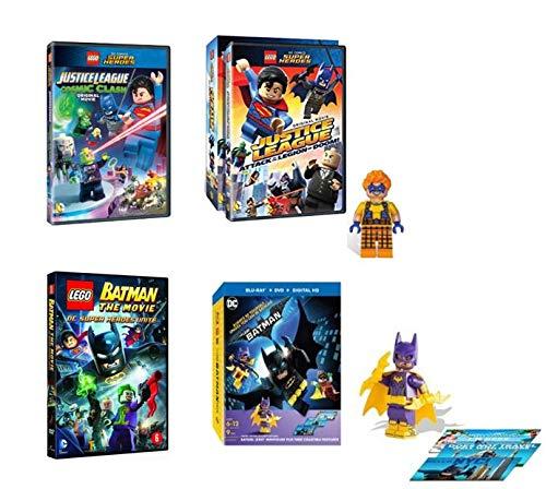 Ultimate LEGO Justice League DC Comics Superheroes DVD Collection - The LEGO Batman Movie / LEGO Batman: Superheroes Unite / Cosmic Clash / Attack of the Legion Doom + Batgirl & Trickster Minifigures