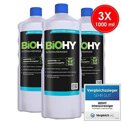 BIOHY Intensivreiniger universal 3 x 1 Liter Flaschen | Hochleistungsindustriereiniger | Grundreiniger ideal für Hochdruckreiniger