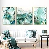 Cqzk Abstrakt Mintgrün Marmor Wandkunst Bilder Leinwand Gemälde Galerie Poster und Drucke Interior forLiving Room Home Decor60x80 cmx1 40x50cmx2 noframe