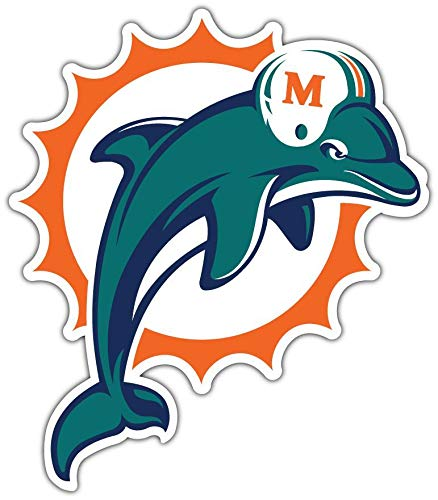 Vinyl Sticker Decal Dolphins Football Helmet Durable Decal for Bumpers, Helmets, Laptops, Water Bottles, Lockers (3' max Size)