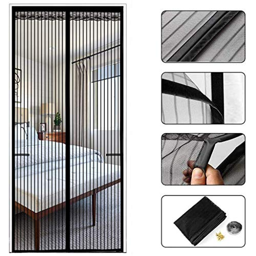 Yuany Miroir Flyscreen Magnetic Thermal Isulated Door Curtain Fly Insect Bug Screen Net Mesh Patio Door Stripes Encryption Hands Free Fits Door Up to 200 x 210cm