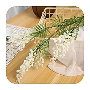 PrettyR 88cm Big Fake Acacia Artificial Flowers Yellow Mimosa Spray Cherry Fruit Branch Wedding Home Table Decoration Fake Flower-White