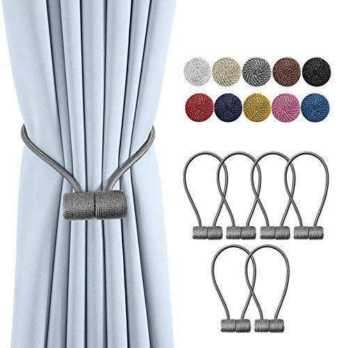 Remunkia Magnetic Curtain Holdbacks Drapery Tiebacks: 6Pack 16 Inch Tie Backs Holdback for Blackout Sheer Window Treatment, Grey, Upgrade