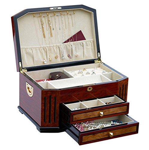 XYLUCKY Nuevo estilo Caja de almacenamiento de joyería de madera hecha a mano de alto grado con cerradura para el presente de boda de cumpleaños - Vino tinto