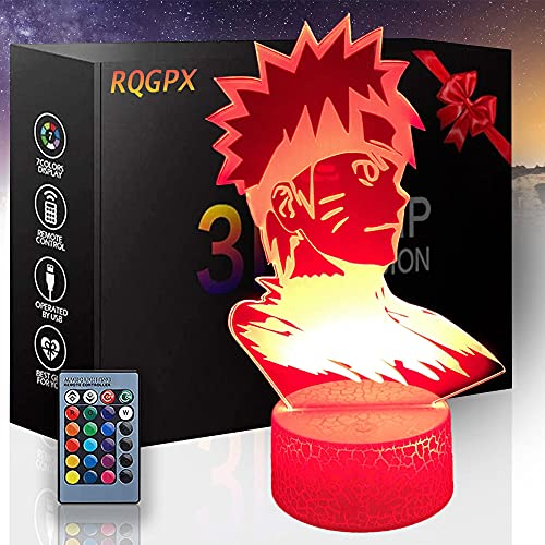 3D Illusion lamp led Night Light Game Lighting 3D lamp Uzumaki Naruto A with 16 RGB Colours Bedside Lamp Touch Adjustable Brightness Birthday Present Decoration for Baby Boy Girl Kids
