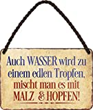 Targa in metallo con scritta divertente 'AUCH Wasserwird .', targa decorativa per bar, bancone o pub, regalo divertente per compleanno o Natale per i tuoi amici Trink & Sauf 18 x 12 cm