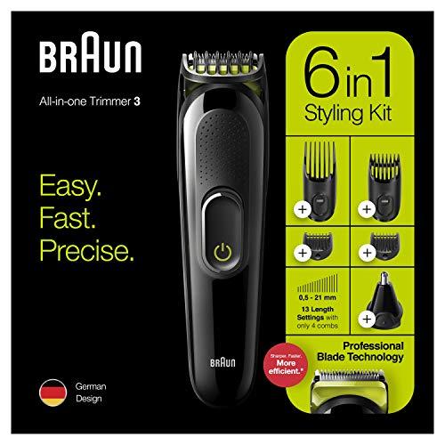 Braun MGK3221 Recortadora de barba 6 en 1, cortapelos, facial, para nariz y orejas para hombre, Verde Eléctrico