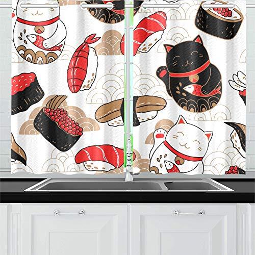 QIAOLII Oriental Style Sushi Katze Küche Vorhänge Fenster Vorhang Stufen für Café, Bad, Wäscheservice, Wohnzimmer Schlafzimmer 26 X 39 Zoll 2 Stück