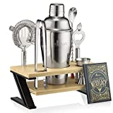 Mixology Bartender Kit and Cocktail Shaker Set for Drink Mixing | Mixology Set with 7 Bar Set Tools and Bamboo Stand Makes It the Perfect Home Cocktail Kit | All You Need For Your Bartender Tool K