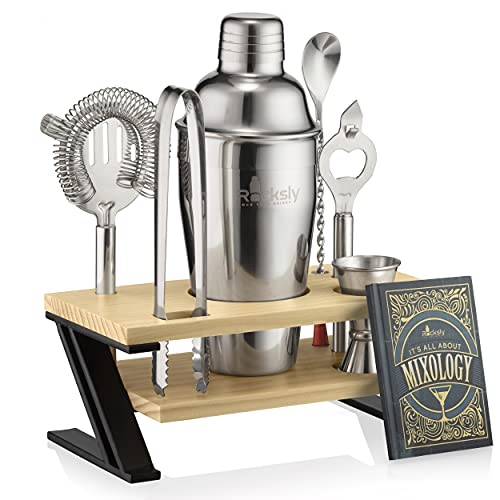 Mixology Bartender Kit and Cocktail Shaker Set for Drink Mixing | Mixology Set with 7 Bar Set Tools and Bamboo Stand Makes It the Perfect Home Cocktail Kit | All You Need For Your Bartender Tool Kit