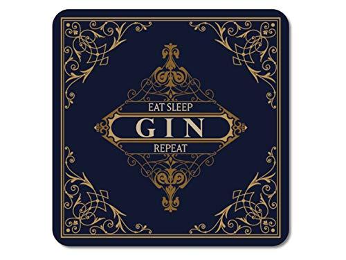 Interluxe LED Untersetzer - Eat Sleep Gin Repeat - leuchtende Glasuntersetzer als Tischdeko oder Bardeko für Gin-Tonic