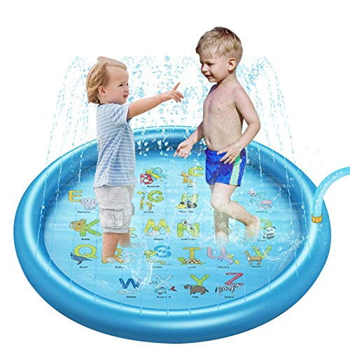 68'' Splash Pad Sprinkler for Kids & Toddlers, Upgraded Inflatable Water Sprinkler for Kiddie Baby Summer Outdoor Games Water Mat Toys for 1-12 Year Old Boys Girls Learning Alphabet