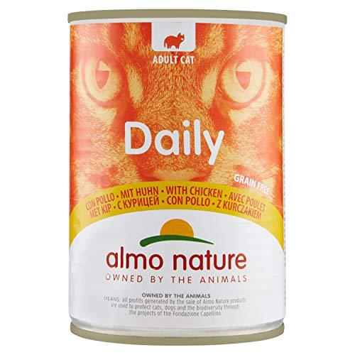 almo nature Lot de 24 boîtes de Nourriture pour Chats Adultes sans céréales avec Poulet Daily de, 400 g