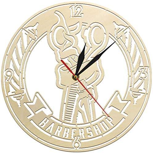 Poste de barbero Tijeras de Pelo peluquería de Madera Antigua Reloj de Pared Peinado Peluquero Logo Logo decoración salón Arte de Pared Reloj de Pared 30x30cm